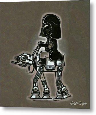 Darth Vader At Battle-horse Metal Print by Leonardo Digenio