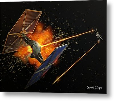 Star Wars Dogfight - Da Metal Print by Leonardo Digenio