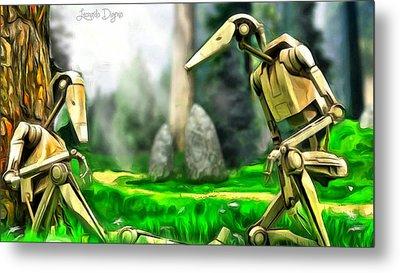 Star Wars - Droids In Park - Da Metal Print by Leonardo Digenio
