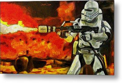 Star Wars First Order Flametrooper Firing - Pa Metal Print by Leonardo Digenio