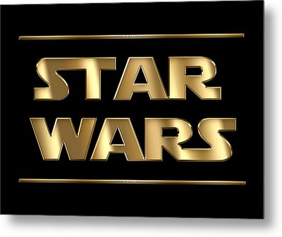 Star Wars Golden Typography On Black Metal Print by Georgeta Blanaru