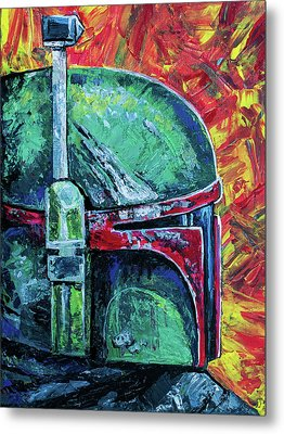 Metal Print featuring the painting Star Wars Helmet Series - Boba Fett by Aaron Spong
