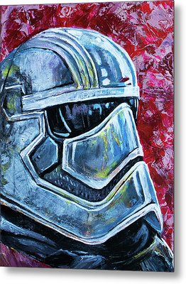 Metal Print featuring the painting Star Wars Helmet Series - Captain Phasma by Aaron Spong