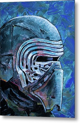 Metal Print featuring the painting Star Wars Helmet Series - Kylo Ren by Aaron Spong