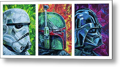 Metal Print featuring the painting Star Wars Helmet Series - Triptych by Aaron Spong