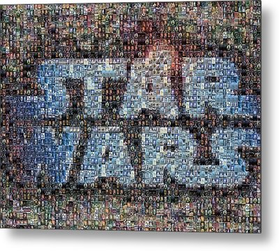 Star Wars Posters Mosaic Metal Print by Paul Van Scott