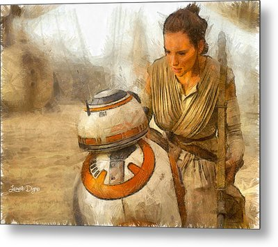 Star Wars Rey And Bb-8  - Pencil Style -  - Pa Metal Print