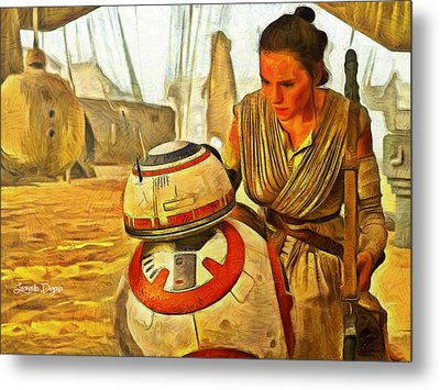 Star Wars Rey And Bb-8  - Van Gogh Style -  - Pa Metal Print