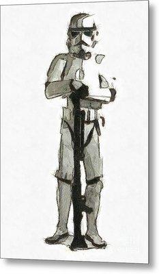 Star Wars Storm Trooper Pencil Drawing Metal Print by Edward Fielding