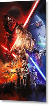 Metal Print featuring the painting Star Wars The Force Awakens Artwork by Sheraz A