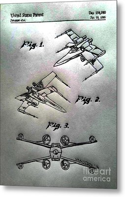 Star Wars X-wing 1980 Us Patent - Silver Abstract Metal Print