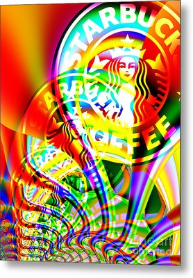 Starbucks Coffee In Abstract Metal Print by Wingsdomain Art and Photography