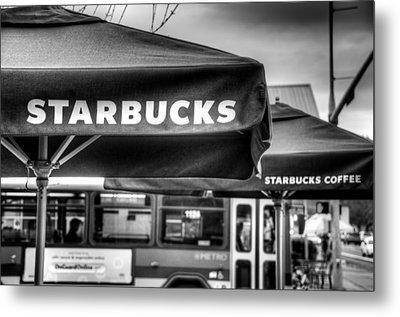Starbucks Umbrella Metal Print by Spencer McDonald