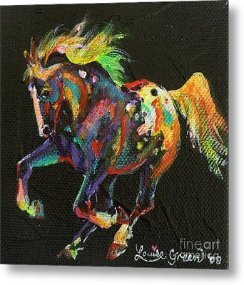 Starburst Pony Metal Print by Louise Green