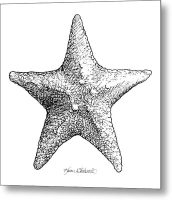 Starfish Drawing Black And White Sea Star Metal Print by Karen Whitworth