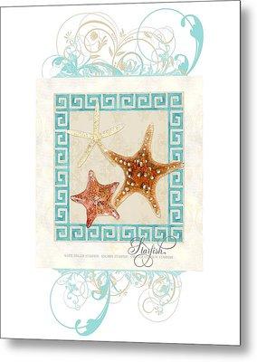 Starfish Greek Key Pattern W Swirls Metal Print by Audrey Jeanne Roberts