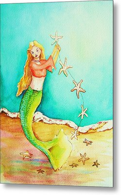 Starfish Mermaid Metal Print