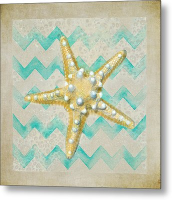 Starfish In Modern Waves Metal Print