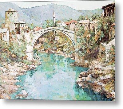 Stari Most Bridge Over The Neretva River In Mostar Bosnia Herzegovina Metal Print by Joseph Hendrix