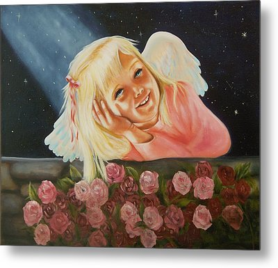 Metal Print featuring the painting Starlight Angel by Joni McPherson