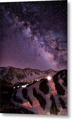 Starlight Mountain Ski Hill Metal Print