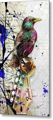 Starling On A Strat Metal Print by Gary Bodnar