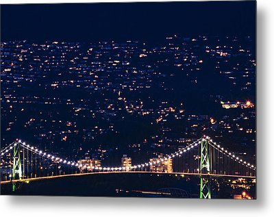 Metal Print featuring the photograph Starry Lions Gate Bridge - Mdxxxii By Amyn Nasser by Amyn Nasser