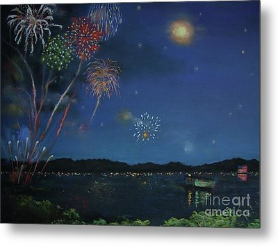 Starry Night At Crooked Creek Marina Metal Print by Jackie Hill