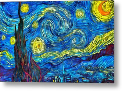 Starry Night By Vincent Van Gogh Revisited - Da Metal Print by Leonardo Digenio