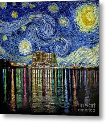 Starry Night In Destin Metal Print by Walt Foegelle