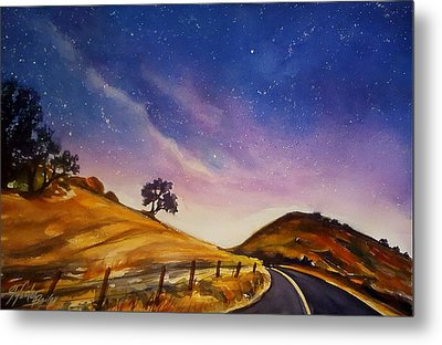 Starry Night On Yokohl Road Metal Print by Therese Fowler-Bailey