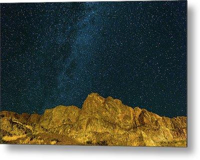 Starry Night Sky Over Rocky Landscape Metal Print