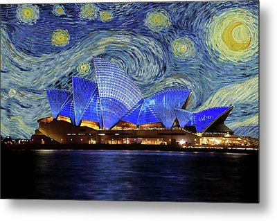 Starry Night Sydney Opera House Metal Print by Movie Poster Prints