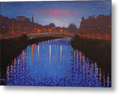 Starry Nights In Dublin Ha' Penny Bridge Metal Print by John  Nolan