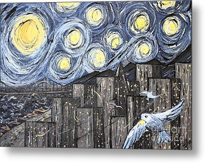 Starry Nights In San Francisco 1985 Metal Print by Wingsdomain Art and Photography