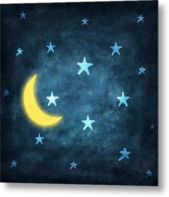 Stars And Moon Drawing With Chalk Metal Print