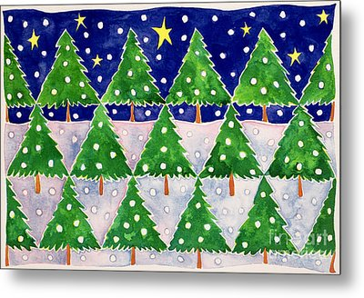 Stars And Snow Metal Print by Cathy Baxter