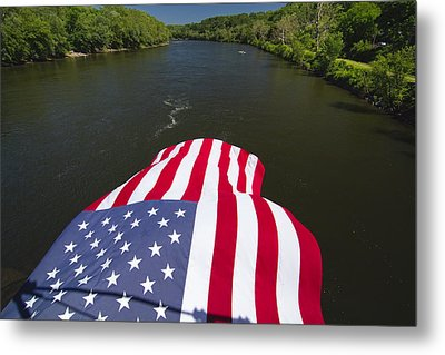 Stars And Stripes Flies Over The Delaware River Metal Print by George Oze