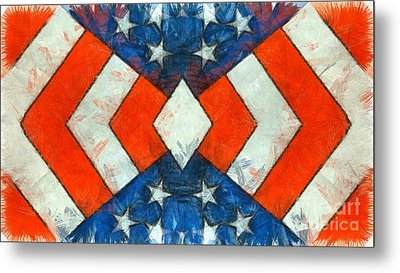Metal Print featuring the digital art Stars And Strips Abstract Pencil by Edward Fielding