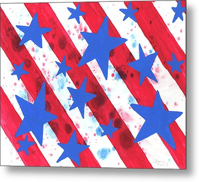 Metal Print featuring the painting Stars And Strips  by Darice Machel McGuire