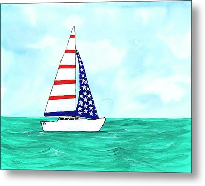 Metal Print featuring the painting Stars And Strips Sailboat by Darice Machel McGuire