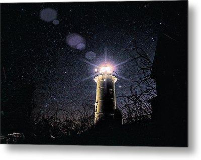 Stars Over Nobska Lighthouse Metal Print