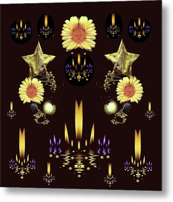 Stars Over The Sacred Sea Of Candles Metal Print by Pepita Selles