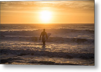 Start The Day Surfing Metal Print