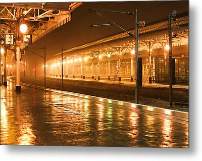 Station At Night Metal Print by Tony Grider
