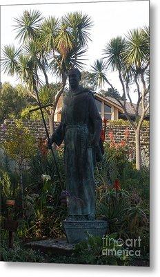 Statue At Mission Carmel Metal Print