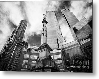 Statue Of Christopher Columbus In Columbus Circle With Time Warner Center Central Park Place And Hea Metal Print