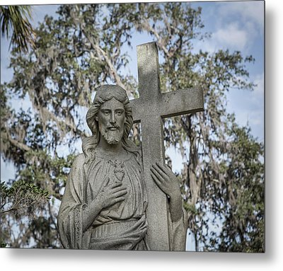 Metal Print featuring the photograph Statue Of Jesus And Cross by Kim Hojnacki
