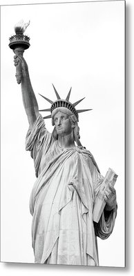 Statue Of Liberty, Black And White Metal Print by Sandy Taylor