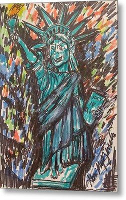 Statue Of Liberty Metal Print by Geraldine Myszenski